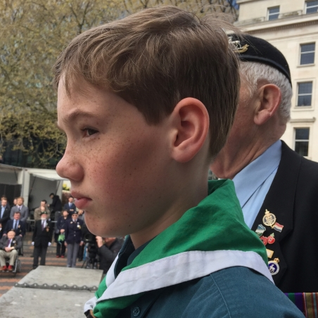Young Scout prepares