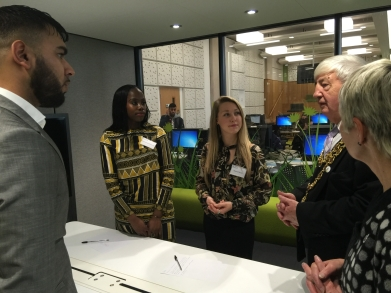 Lord Mayor of Birmingham and Marian Davies discuss students teaching experiences in their school placements