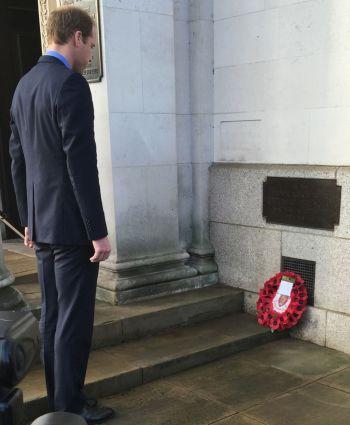 William Duke of Cambridge lays the wreath