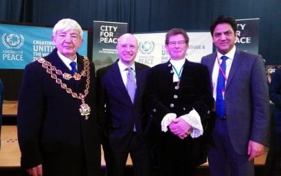 Lord Mayor, Liam Byrne MP, High Sheriff and Cllr Shafique Shah