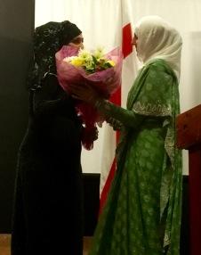 Salma receives flowers
