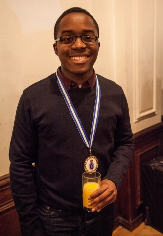 Jordan with medal and juice